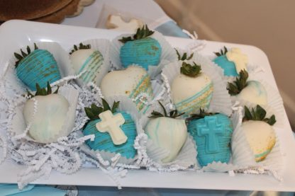 Baptism Themed White Chocolate Covered Strawberries