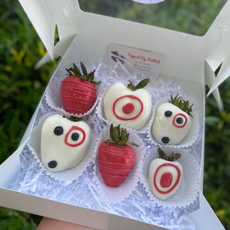 Target Themed White Chocolate Covered Strawberries