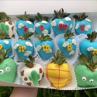 Toy Story Themed White Chocolate Covered Strawberries and Pretzels